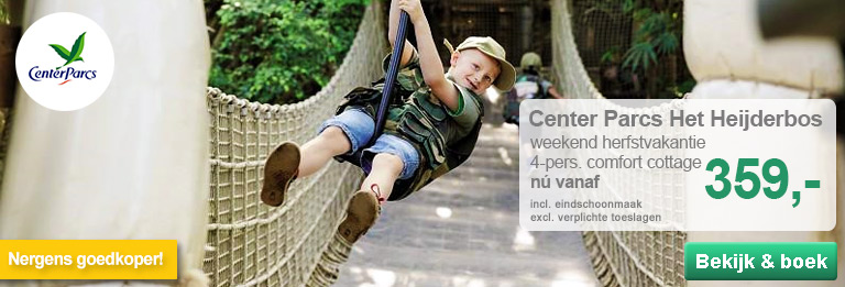 Specials BungalowS.nl - Nergens goedkoper! Center Parcs Het Heijderbos